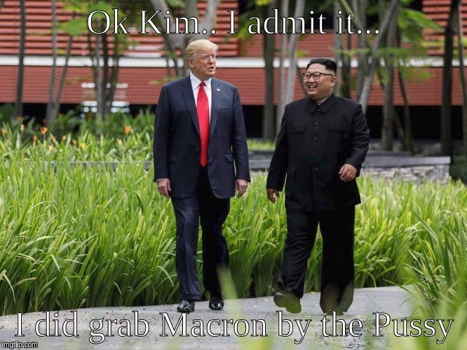 Ok Kim.. I admit it... I did grab Macron by the Pussy | image tagged in president trump,kim jong un | made w/ Imgflip meme maker