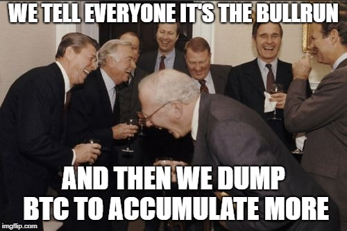 Laughing Men In Suits Meme | WE TELL EVERYONE IT'S THE BULLRUN AND THEN WE DUMP BTC TO ACCUMULATE MORE | image tagged in memes,laughing men in suits | made w/ Imgflip meme maker