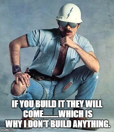 Construction guy.  | IF YOU BUILD IT THEY WILL COME.........WHICH IS WHY I DON'T BUILD ANYTHING. | image tagged in construction guy,funny,memes,funny memes | made w/ Imgflip meme maker