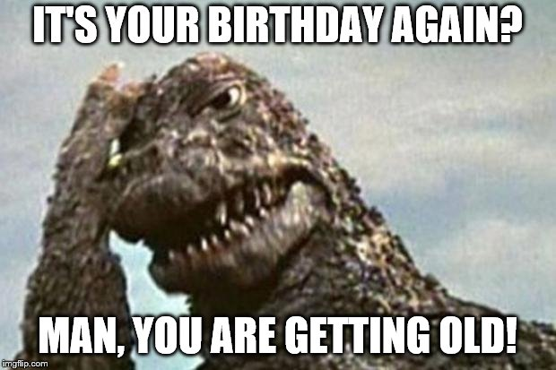 Godzilla | IT'S YOUR BIRTHDAY AGAIN? MAN, YOU ARE GETTING OLD! | image tagged in godzilla | made w/ Imgflip meme maker