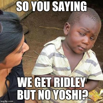 Third World Skeptical Kid Meme | SO YOU SAYING WE GET RIDLEY BUT N0 YOSHI? | image tagged in memes,third world skeptical kid | made w/ Imgflip meme maker