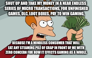 shut up and take my money | SHUT UP AND TAKE MY MONEY IN A NEAR ENDLESS SERIES OF MICRO TRANSACTIONS, FOR UNFINISHED GAMES, DLC, LOOT BOXES, PAY TO WIN GAMING, BECAUSE  | image tagged in shut up and take my money | made w/ Imgflip meme maker