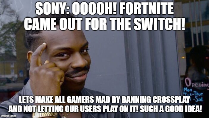 Roll Safe Think About It Meme | SONY: OOOOH! FORTNITE CAME OUT FOR THE SWITCH! LETS MAKE ALL GAMERS MAD BY BANNING CROSSPLAY AND NOT LETTING OUR USERS PLAY ON IT! SUCH A GO | image tagged in memes,roll safe think about it | made w/ Imgflip meme maker