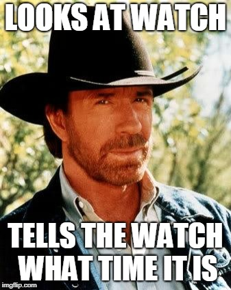 Chuck Norris Chooses All Time | LOOKS AT WATCH TELLS THE WATCH WHAT TIME IT IS | image tagged in memes,chuck norris,funny,awesome pun chuck norris,chuck norris fact | made w/ Imgflip meme maker