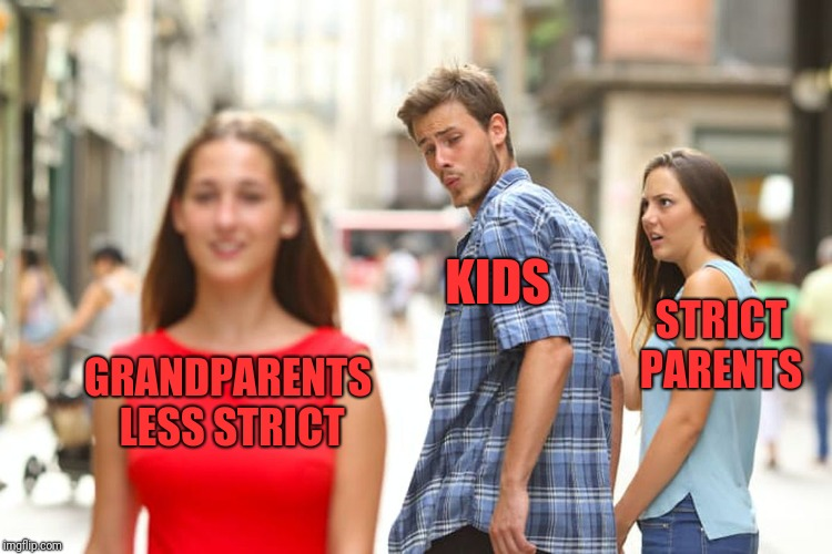 Distracted Boyfriend Meme | GRANDPARENTS LESS STRICT KIDS STRICT PARENTS | image tagged in memes,distracted boyfriend | made w/ Imgflip meme maker