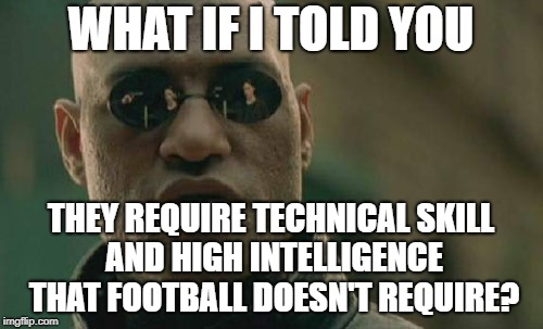 Matrix Morpheus Meme | WHAT IF I TOLD YOU THEY REQUIRE TECHNICAL SKILL AND HIGH INTELLIGENCE THAT FOOTBALL DOESN'T REQUIRE? | image tagged in memes,matrix morpheus | made w/ Imgflip meme maker