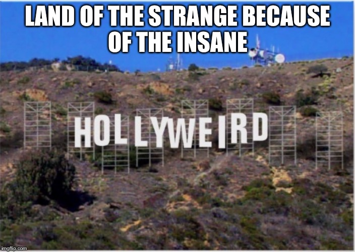 Hollyweird | LAND OF THE STRANGE BECAUSE OF THE INSANE | image tagged in hollywood liberals,hollywood,memes,drsarcasm | made w/ Imgflip meme maker