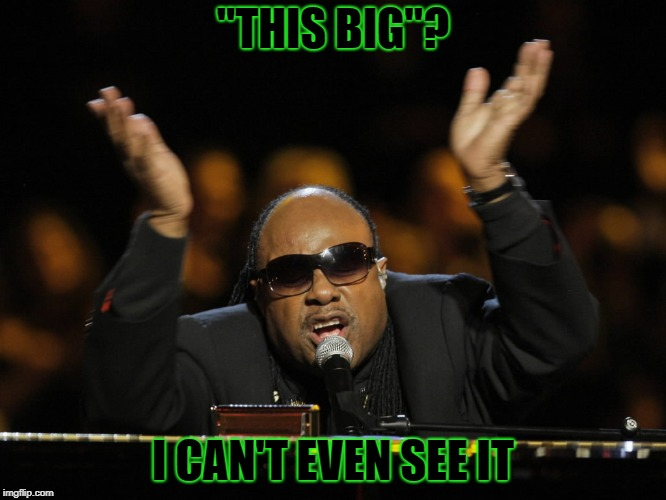 """THIS BIG""? I CAN'T EVEN SEE IT 