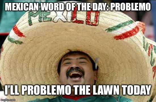 mexican word of the day | MEXICAN WORD OF THE DAY: PROBLEMO I'LL PROBLEMO THE LAWN TODAY | image tagged in mexican word of the day,memes,funny,lawnmower,gardening | made w/ Imgflip meme maker