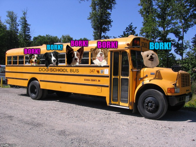 "The dogs on the bus go ""Bork bork bork!"" 