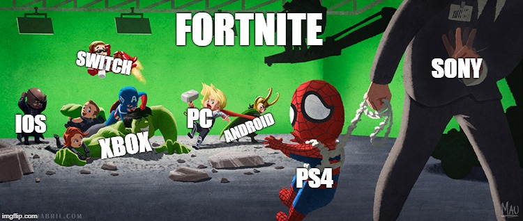 FORTNITE SONY PS4 XBOX SWITCH ANDROID IOS PC | image tagged in gaming | made w/ Imgflip meme maker