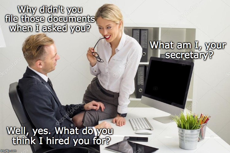 Job Description | Why didn't you file those documents when I asked you? What am I, your secretary? Well, yes. What do you think I hired you for? | image tagged in office,boss,secretary | made w/ Imgflip meme maker