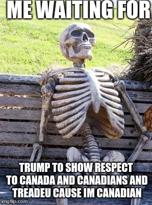ME WAITING FOR TRUMP TO SHOW RESPECT TO CANADA AND CANADIANS AND TREADEU CAUSE IM CANADIAN | image tagged in memes,waiting skeleton,scumbag | made w/ Imgflip meme maker