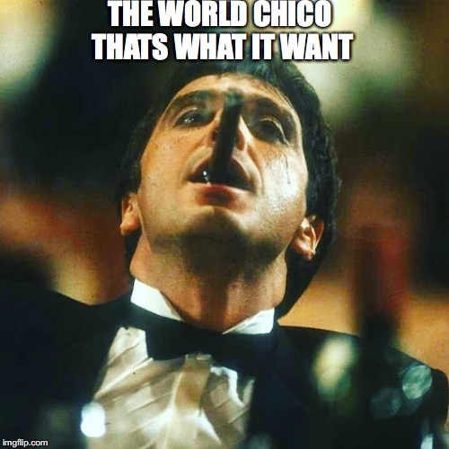 THE WORLD CHICO THATS WHAT IT WANT | image tagged in scarface theworld | made w/ Imgflip meme maker