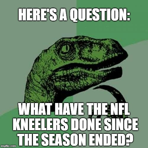 Answer: NOT A DAMN THING! | HERE'S A QUESTION: WHAT HAVE THE NFL KNEELERS DONE SINCE THE SEASON ENDED? | image tagged in memes,philosoraptor,nfl,football,take a knee,usa | made w/ Imgflip meme maker