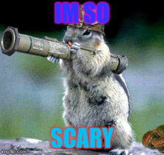 Bazooka Squirrel | IM SO SCARY | image tagged in memes,bazooka squirrel | made w/ Imgflip meme maker