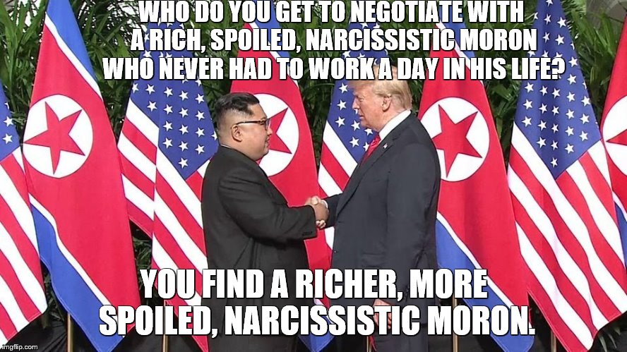 WHO DO YOU GET TO NEGOTIATE WITH A RICH, SPOILED, NARCISSISTIC MORON WHO NEVER HAD TO WORK A DAY IN HIS LIFE? YOU FIND A RICHER, MORE SPOILE | image tagged in trump kim | made w/ Imgflip meme maker