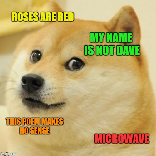 Edgar Allen Doge | ROSES ARE RED MY NAME IS NOT DAVE THIS POEM MAKES NO SENSE MICROWAVE | image tagged in memes,doge,funny,poems | made w/ Imgflip meme maker