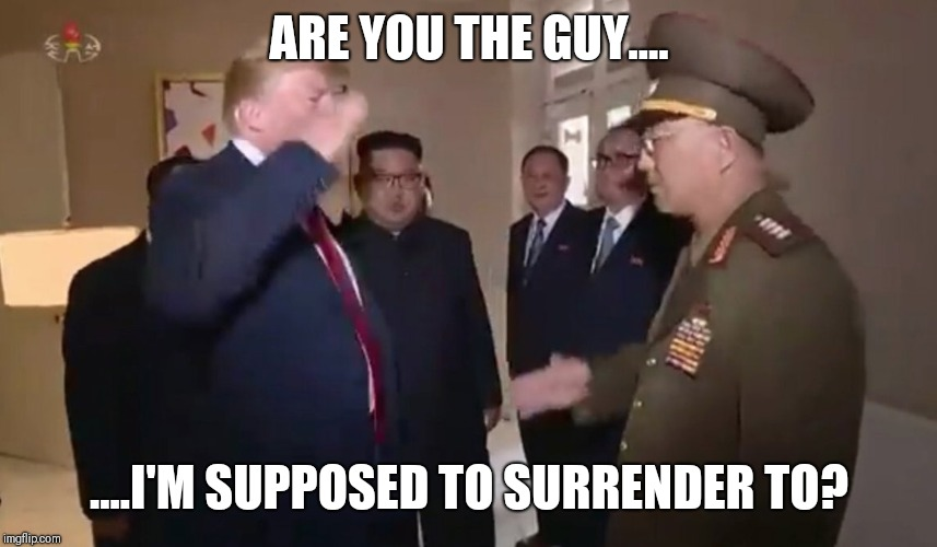 North Korea salute | ARE YOU THE GUY.... ....I'M SUPPOSED TO SURRENDER TO? | image tagged in north korea,kim jong un,donald trump is an idiot | made w/ Imgflip meme maker