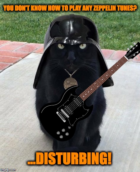Classic Rock Ain't Classic Without the Led, Baby!! | YOU DON'T KNOW HOW TO PLAY ANY ZEPPELIN TUNES? ...DISTURBING! | image tagged in vadar kitty | made w/ Imgflip meme maker