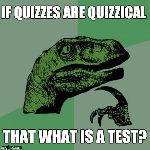 Philosoraptor Meme | IF QUIZZES ARE QUIZZICAL THAT WHAT IS A TEST? | image tagged in memes,philosoraptor | made w/ Imgflip meme maker