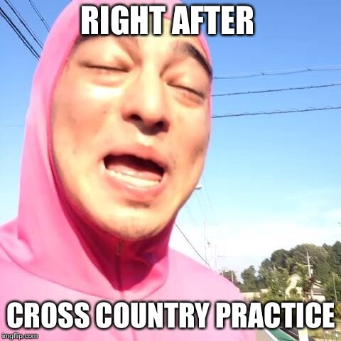 RIGHT AFTER CROSS COUNTRY PRACTICE | image tagged in pink guy | made w/ Imgflip meme maker