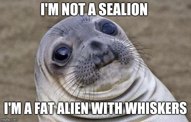 Ignorance can become rudeness, the more you know---* | I'M NOT A SEALION I'M A FAT ALIEN WITH WHISKERS | image tagged in memes,awkward moment sealion | made w/ Imgflip meme maker