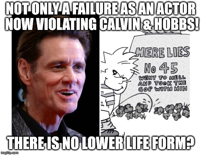 NOT ONLY A FAILURE AS AN ACTOR NOW VIOLATING CALVIN & HOBBS! THERE IS NO LOWER LIFE FORM? | image tagged in stupid liberals | made w/ Imgflip meme maker