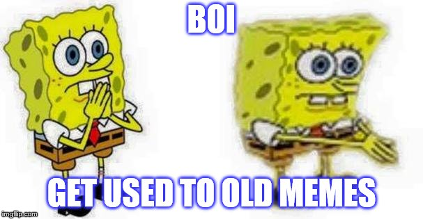 BOI GET USED TO OLD MEMES | image tagged in spongebob boi | made w/ Imgflip meme maker