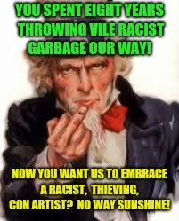 Play nice now? | YOU SPENT EIGHT YEARS THROWING VILE RACIST GARBAGE OUR WAY! NOW YOU WANT US TO EMBRACE A RACIST,  THIEVING,  CON ARTIST?  NO WAY SUNSHINE! | image tagged in uncle sam government freedom,donald trump,snowflakes,congress | made w/ Imgflip meme maker