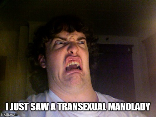 There is always a first time | I JUST SAW A TRANSEXUAL MANOLADY | image tagged in memes,oh no | made w/ Imgflip meme maker