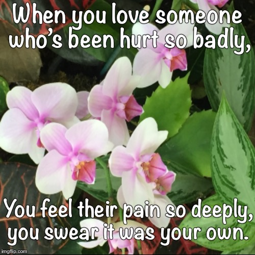 When you love someone who's been hurt so badly, | You feel their pain so deeply, you swear it was your own. | image tagged in funny,demotivationals | made w/ Imgflip demotivational maker