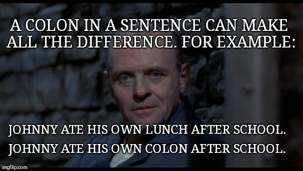 hannibal lecter silence of the lambs | A COLON IN A SENTENCE CAN MAKE ALL THE DIFFERENCE. FOR EXAMPLE: JOHNNY ATE HIS OWN LUNCH AFTER SCHOOL. JOHNNY ATE HIS OWN COLON AFTER SCHOOL | image tagged in hannibal lecter silence of the lambs,grammar nazi,humor | made w/ Imgflip meme maker