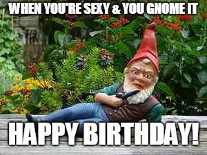 WHEN YOU'RE SEXY & YOU GNOME IT HAPPY BIRTHDAY! | image tagged in smoking gnome | made w/ Imgflip meme maker
