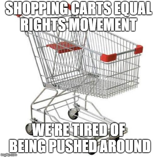 Shopping carts civil rights. | SHOPPING CARTS EQUAL RIGHTS MOVEMENT WE'RE TIRED OF BEING PUSHED AROUND | image tagged in shopping,shopping cart,funny memes | made w/ Imgflip meme maker
