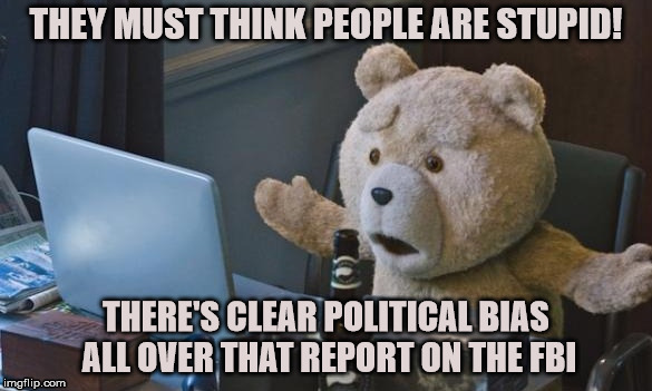 THEY MUST THINK PEOPLE ARE STUPID! THERE'S CLEAR POLITICAL BIAS ALL OVER THAT REPORT ON THE FBI | image tagged in ted 2 computer | made w/ Imgflip meme maker