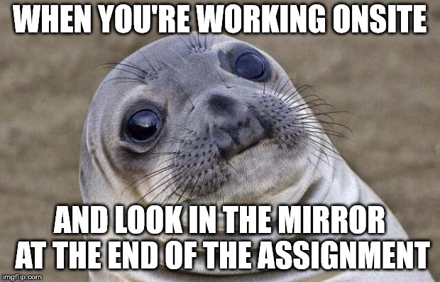 Two Week Work Assignment, forget to shave, forget breakfast, forget lunch.  | WHEN YOU'RE WORKING ONSITE AND LOOK IN THE MIRROR AT THE END OF THE ASSIGNMENT | image tagged in memes,awkward moment sealion,travel,work | made w/ Imgflip meme maker