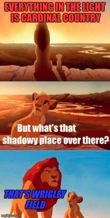 Simba Shadowy Place | EVERYTHING IN THE LIGHT IS CARDINAL COUNTRY THAT'S WRIGLEY FIELD | image tagged in memes,simba shadowy place,cardinals | made w/ Imgflip meme maker
