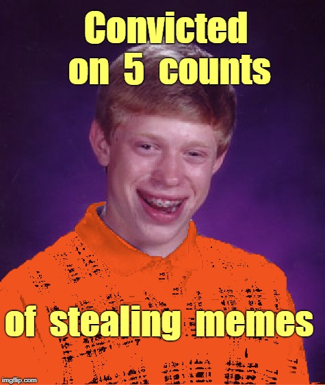 Bad Luck Brian -- the Memer | Convicted  on  5  counts of  stealing  memes | image tagged in bad luck brian prison orange,memes | made w/ Imgflip meme maker