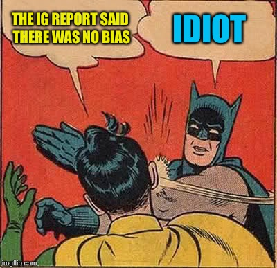 Batman Slapping Robin Meme | THE IG REPORT SAID THERE WAS NO BIAS IDIOT | image tagged in memes,batman slapping robin | made w/ Imgflip meme maker