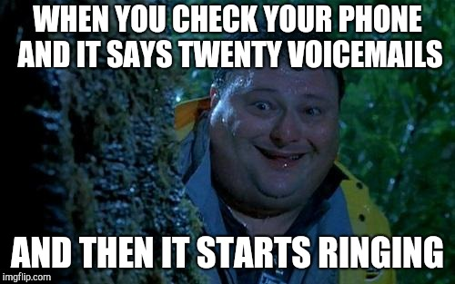 WHEN YOU CHECK YOUR PHONE AND IT SAYS TWENTY VOICEMAILS AND THEN IT STARTS RINGING | image tagged in deeply scared dennis | made w/ Imgflip meme maker