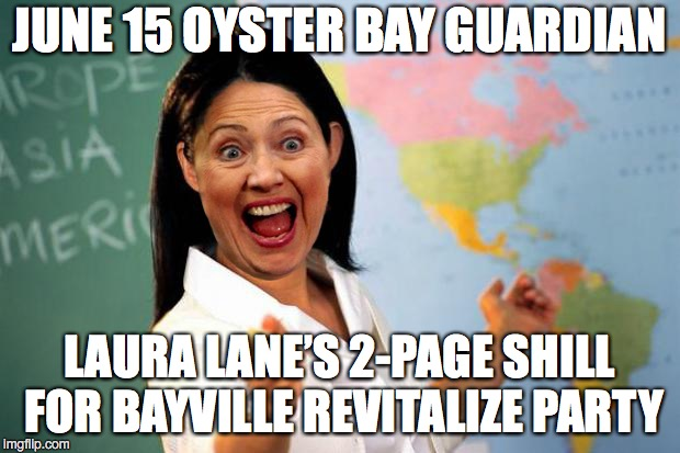Useless Establishment Shill | JUNE 15 OYSTER BAY GUARDIAN LAURA LANE'S 2-PAGE SHILL FOR BAYVILLE REVITALIZE PARTY | image tagged in useless establishment shill | made w/ Imgflip meme maker