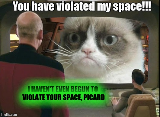 I HAVEN'T EVEN BEGUN TO VIOLATE YOUR SPACE, PICARD | made w/ Imgflip meme maker