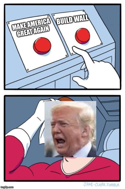 Two Buttons Meme | MAKE AMERICA GREAT AGAIN BUILD WALL | image tagged in memes,two buttons | made w/ Imgflip meme maker