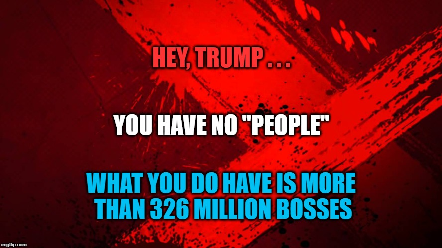 "We Are Not Your People - We Are ALL Your Bosses! | HEY, TRUMP . . . WHAT YOU DO HAVE IS MORE THAN 326 MILLION BOSSES YOU HAVE NO ""PEOPLE"" 