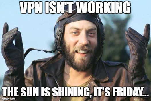 VPN ISN'T WORKING THE SUN IS SHINING, IT'S FRIDAY... | image tagged in oddball | made w/ Imgflip meme maker