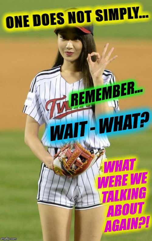 One does not simply | ONE DOES NOT SIMPLY... WHAT WERE WE TALKING ABOUT AGAIN?! REMEMBER... WAIT - WHAT? | image tagged in one does not simply,asian baseball babe,sports,imgflip humor,korean beauty | made w/ Imgflip meme maker