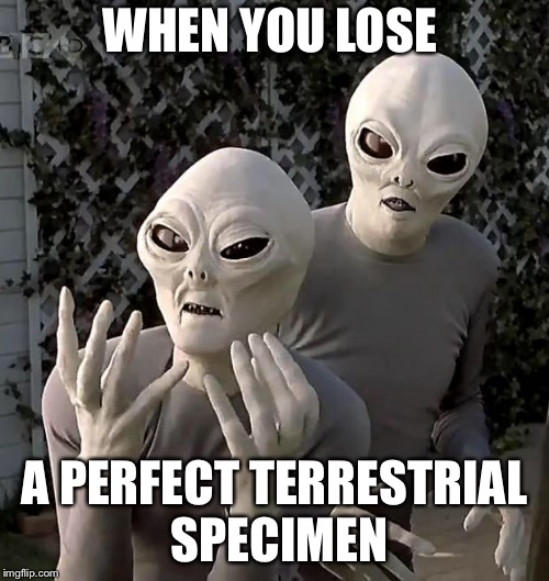 Alien Week | WHEN YOU LOSE A PERFECT TERRESTRIAL SPECIMEN | image tagged in aliens,alien week,frustrated aliens,ufo,abduction,extraterrestrial | made w/ Imgflip meme maker