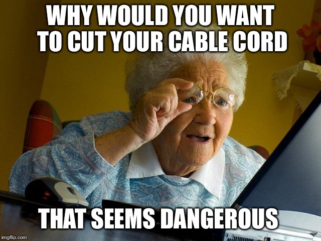 Grandma Finds The Internet Meme | WHY WOULD YOU WANT TO CUT YOUR CABLE CORD THAT SEEMS DANGEROUS | image tagged in memes,grandma finds the internet | made w/ Imgflip meme maker
