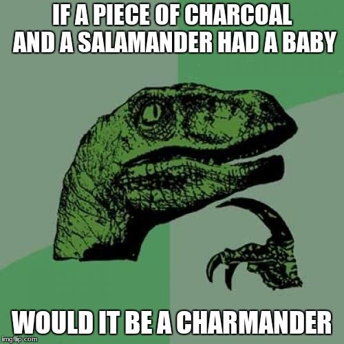 WOW! | IF A PIECE OF CHARCOAL AND A SALAMANDER HAD A BABY WOULD IT BE A CHARMANDER | image tagged in memes,philosoraptor | made w/ Imgflip meme maker